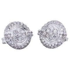 Handcrafted 18 Karat White Gold 0.60 Karats White Diamonds Elegant Stud Earrings