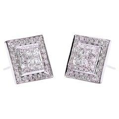 "Handcrafted 18 Karat White Gold 0.80 Karat White Diamonds ""Square"" Stud Earrings"