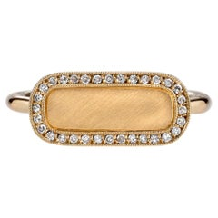 Handcrafted 18 Karat Yellow Gold and Diamond Surround Signet Ring