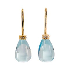 Handcrafted 18 Karat Yellow Gold Blue Topaz 0.10 Karat White Diamonds Earrings