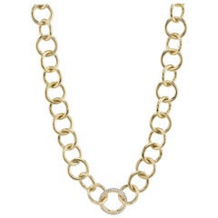Handcrafted 18 Karat Yellow Gold Club Necklace with Diamonds