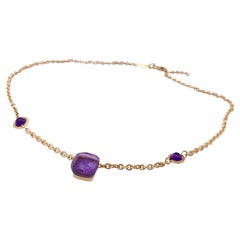 Handcrafted 18 Karats Yellow Gold Cabochon Amethyst Design Chain Necklace