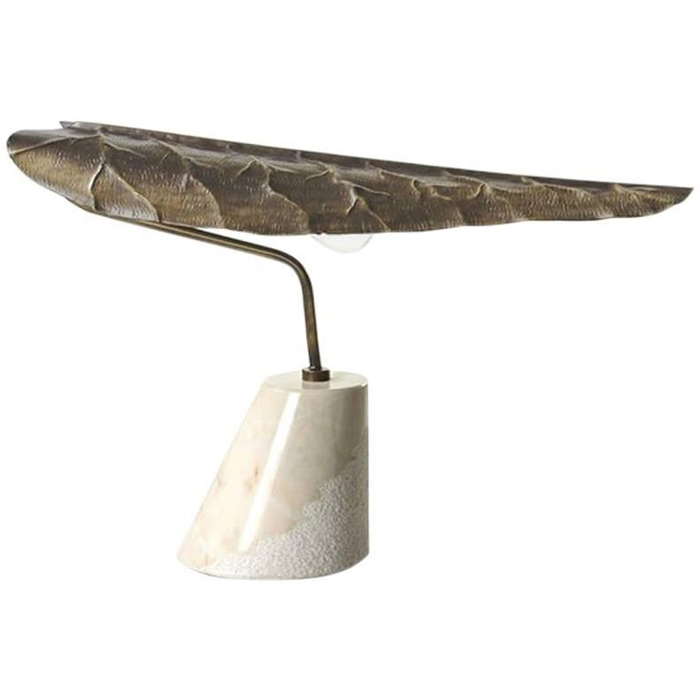 Handcrafted 21st Century Brass Leaf Shaped Table Lamp With Marble Base For Sale At 1stdibs