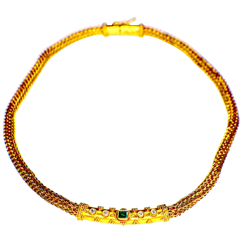 GEMOLITHOS Handcrafted, 22 Karat Gold Emerald and Diamond Necklace