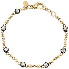 Handcrafted 2.33 Carat Cushion Cut Diamond 18 Karat Yellow Gold Bracelet