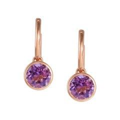 Handcrafted 2.40 Carats Amethyst 18 Karat Rose Gold Drop Earrings