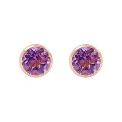Handcrafted 2.40 Carats Amethyst 18 Karat Rose Gold Stud Earrings