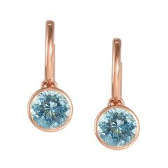 Handcrafted 2.70 Carats Aquamarine 18 Karat Rose Gold Drop Earrings