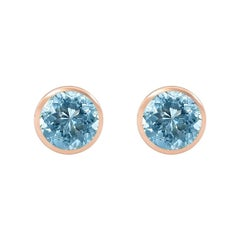 Handcrafted 2.70 Carats Aquamarine 18 Karat Rose Gold Stud Earrings