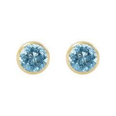 Handcrafted 2.70 Carats Aquamarine 18 Karat Yellow Gold Stud Earrings
