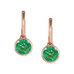 Handcrafted 2.00 Carats Emerald 18 Karat Rose Gold Drop Earrings