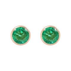 Handcrafted 2.00 Carats Emerald 18 Karat Rose Gold Stud Earrings
