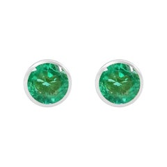 Handcrafted 2.00 Carats Emerald 18 Karat White Gold Stud Earrings