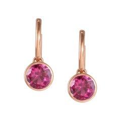 Handcrafted 2.60 Carats Pink Tourmaline 18 Karat Rose Gold Drop Earrings