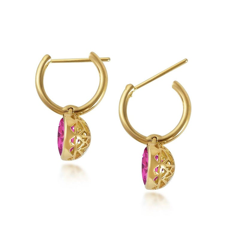 Handcrafted 2.60 Carats Pink Tourmaline 18 Karat Yellow Gold Drop Earrings. The 8mm natural stones are set in our iconic hand pierced gold lace to let the light through. Our precious and fine stones on our dangling earrings are highlighted by a
