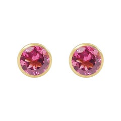 Handcrafted 2.60 Carats Pink Tourmaline 18 Karat Yellow Gold Stud Earrings