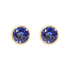 Handcrafted 2.80 Carats Tanzanite 18 Karat Yellow Gold Stud Earrings
