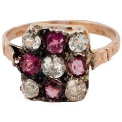 Handcrafted 9 Karat Rose Gold and Silver, Diamonds, Rubies, Retrò Ring
