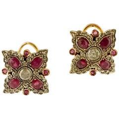Handcrafted 9 Karat Rose Gold and Silver Diamonds, Rubies, Retrò Stud Earrings