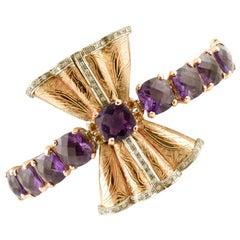 Handcrafted 9 Karat Rose Gold Bow Amethyst, Topazs, Diamonds, Bracelet