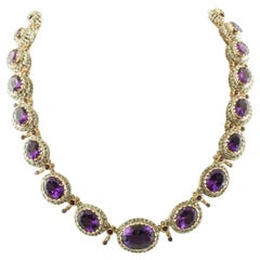 Handcrafted Amethyst, 9 Karat Rose Gold and Silver, Vintage Necklace
