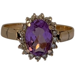 Handcrafted Amethyst and Diamond Set in 14 Karat Yellow Gold Ring