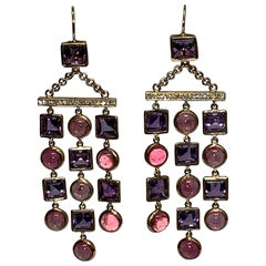 Handcrafted Amethyst and Pink Tourmaline 18 Karat Gold Chandelier Earrings