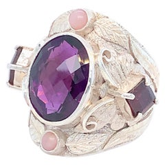Handcrafted Amethyst Garnet and Pink Opal Cocktail Ring in Sterling Silver