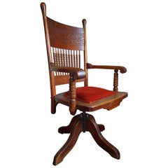 Handcrafted and Hand-Carved Adjustable American Arts & Crafts Oak Desk Chair