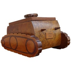 Handcrafted and Inlaid World War II Italian Nutwood Tank Design Cigarette Box