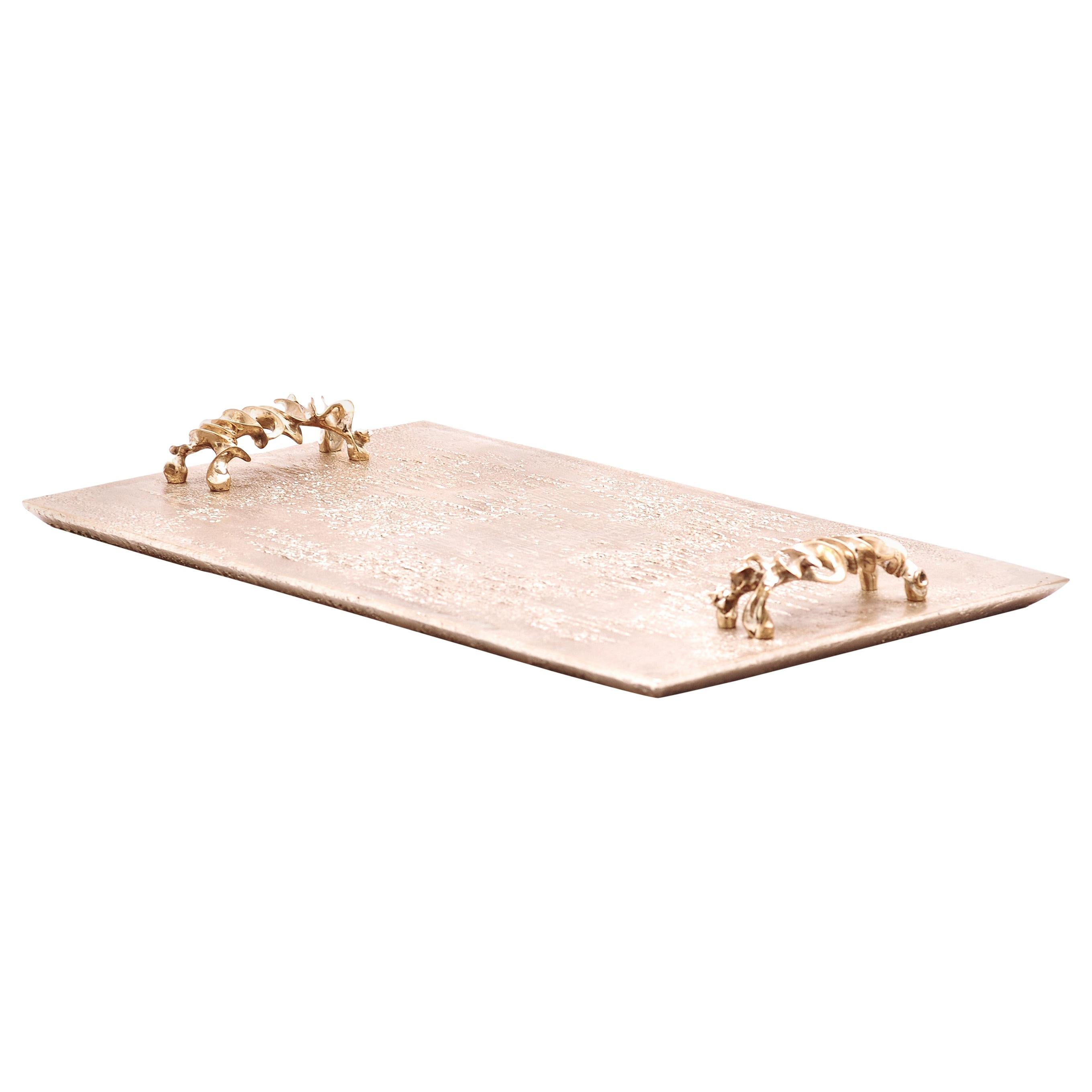 Handcrafted and Polished Cast Bronze Bar Tray