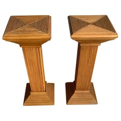 Handcrafted and Stylish Pair of Midcentury Modern Rattan Pedestal / Plant Stands