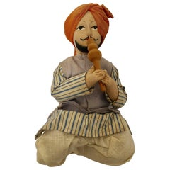 Handcrafted Anglo-Raj Vintage Stuffed Sitting Snake Charmer Doll, India