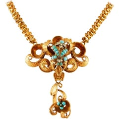Handcrafted Antique 1850s Yellow Gold Necklace, Turquoise and Pearls