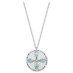 Handcrafted Aquamarines and 18 Karat White Gold Pendant Necklace