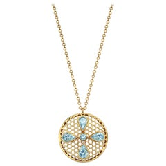 Handcrafted Aquamarines and 18 Karat Yellow Gold Pendant Necklace