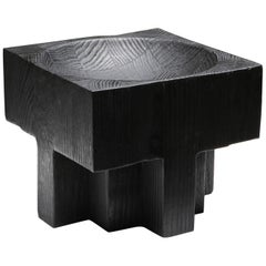 Black burned Iroko wood Arno Declercq Cross pots