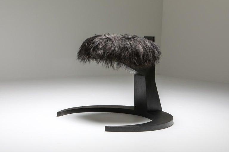 Belgian Black Collectible design Arno Declercq Hevioso Stool For Sale