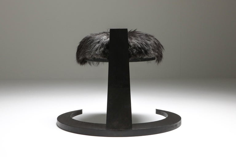 Wool Black Collectible design Arno Declercq Hevioso Stool For Sale