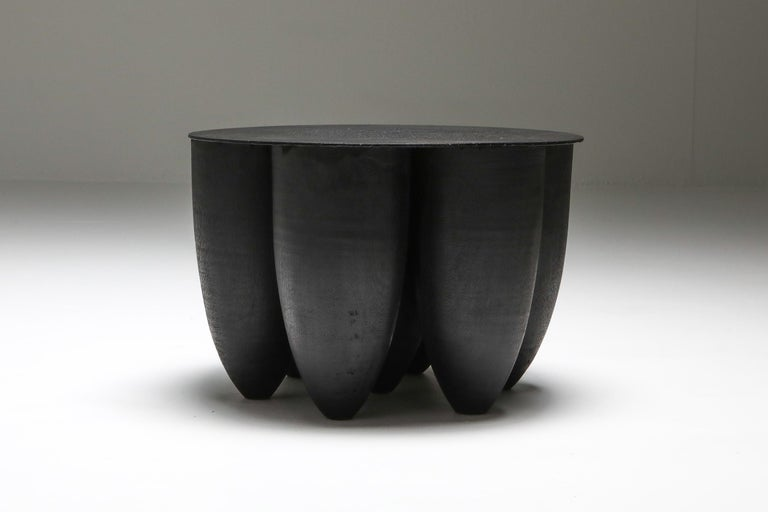 """Arno Declercq; Belgian Design; Handcrafted  Made in burned and waxed Iroko wood and burned steel. 45 cm wide x 45 cm deep x 30 cm high / 17.7"""" wide x 17.7"""" deep x 12"""" high  Belgian designer and art dealer, born in 1994, who makes bespoke"""