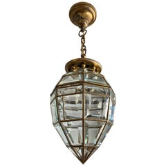 Handcrafted Art Deco Pendant Light Diamond Shape with 48 Beveled Glass Pieces