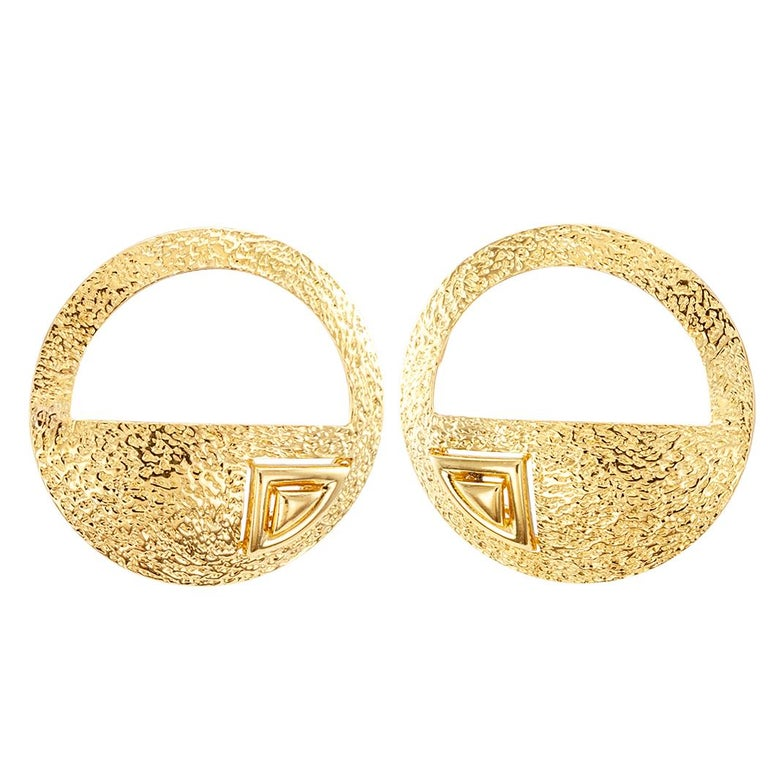 Artisan Handcrafted Art Studio Gold Earrings For Sale