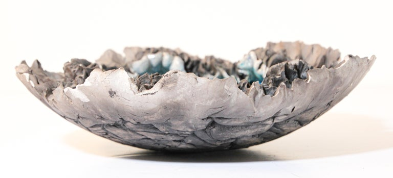 Organic Modern Handcrafted Art Studio Pottery Freeform Bowl Ashtray For Sale
