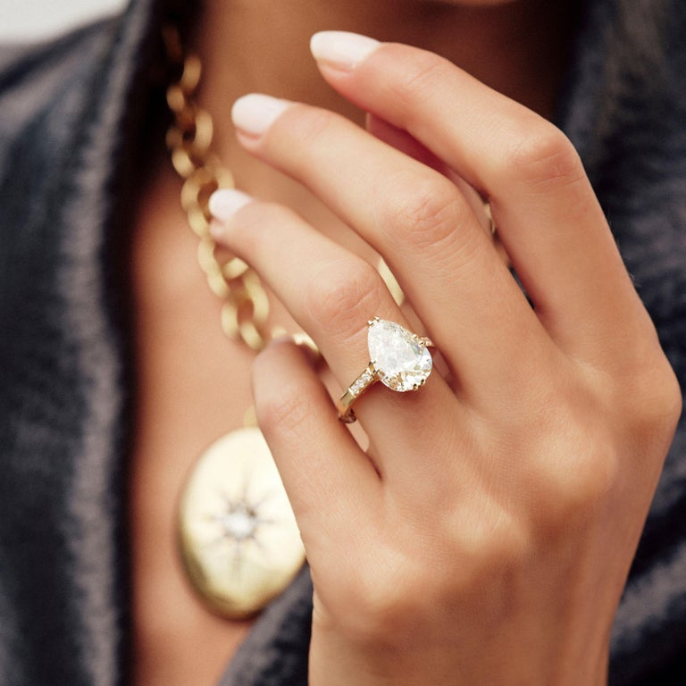 Handcrafted Bauer Pear Shaped Diamond Ring by Single Stone In New Condition For Sale In Los Angeles, CA
