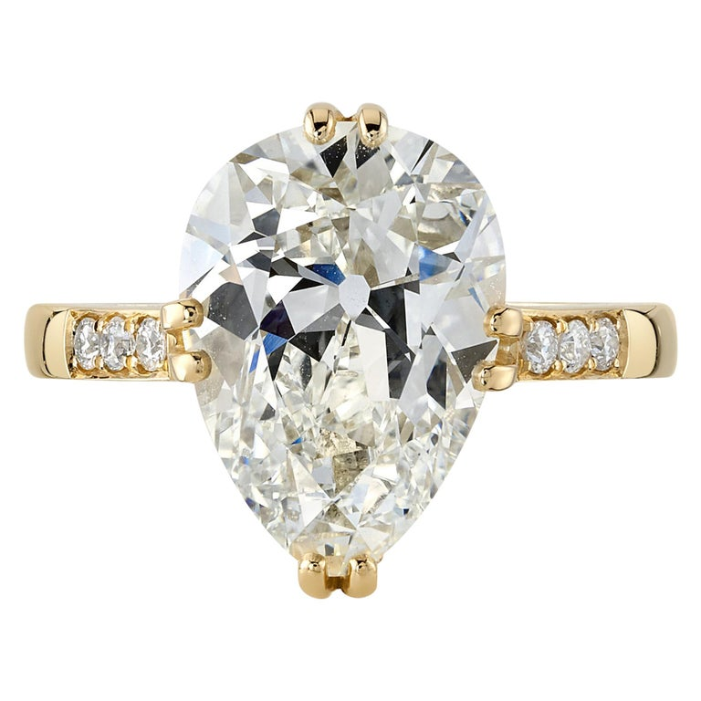 Handcrafted Bauer Pear Shaped Diamond Ring by Single Stone For Sale