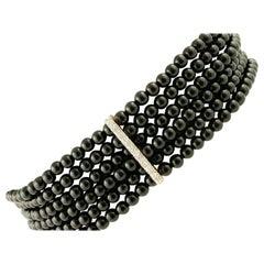 Handcrafted Beaded Bracelet Onyx, Diamonds, 14 Karat White Gold