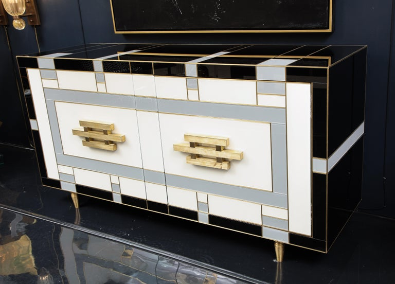 Custom Handcrafted Black, Ivory and Grey Glass with Brass Inlay Sideboard, Spain For Sale 4