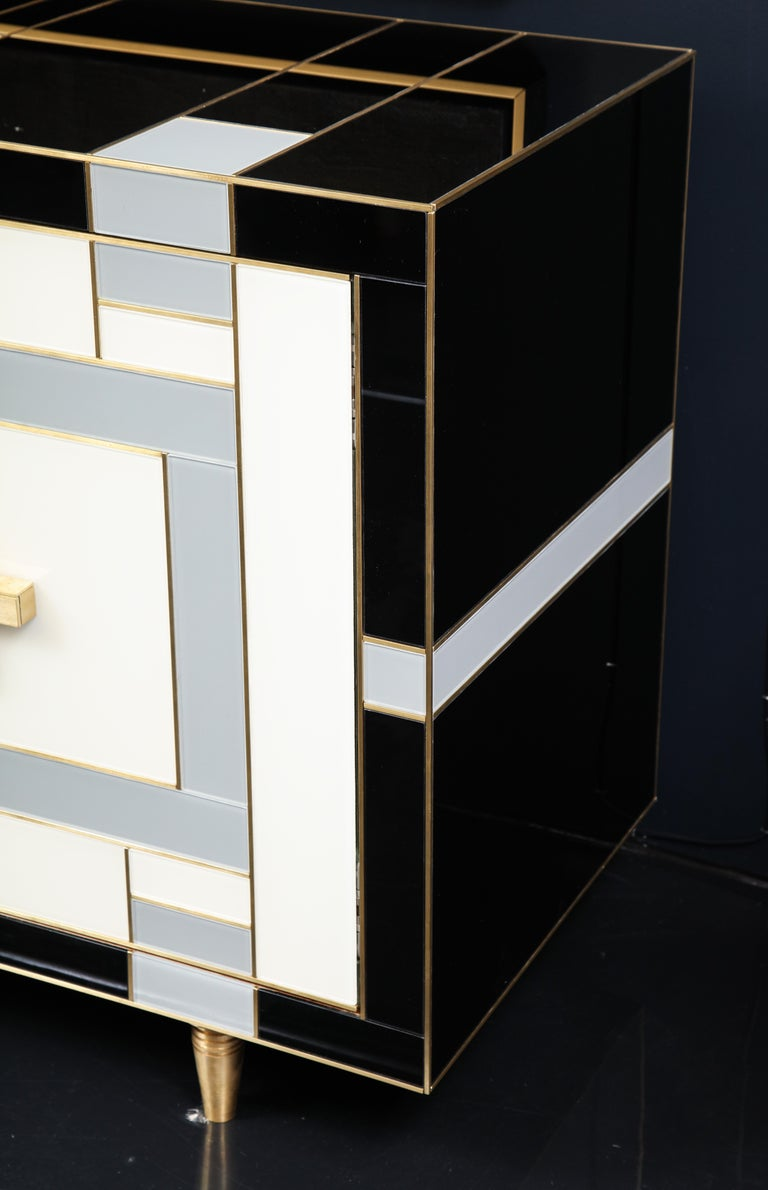 Custom Handcrafted Black, Ivory and Grey Glass with Brass Inlay Sideboard, Spain For Sale 5