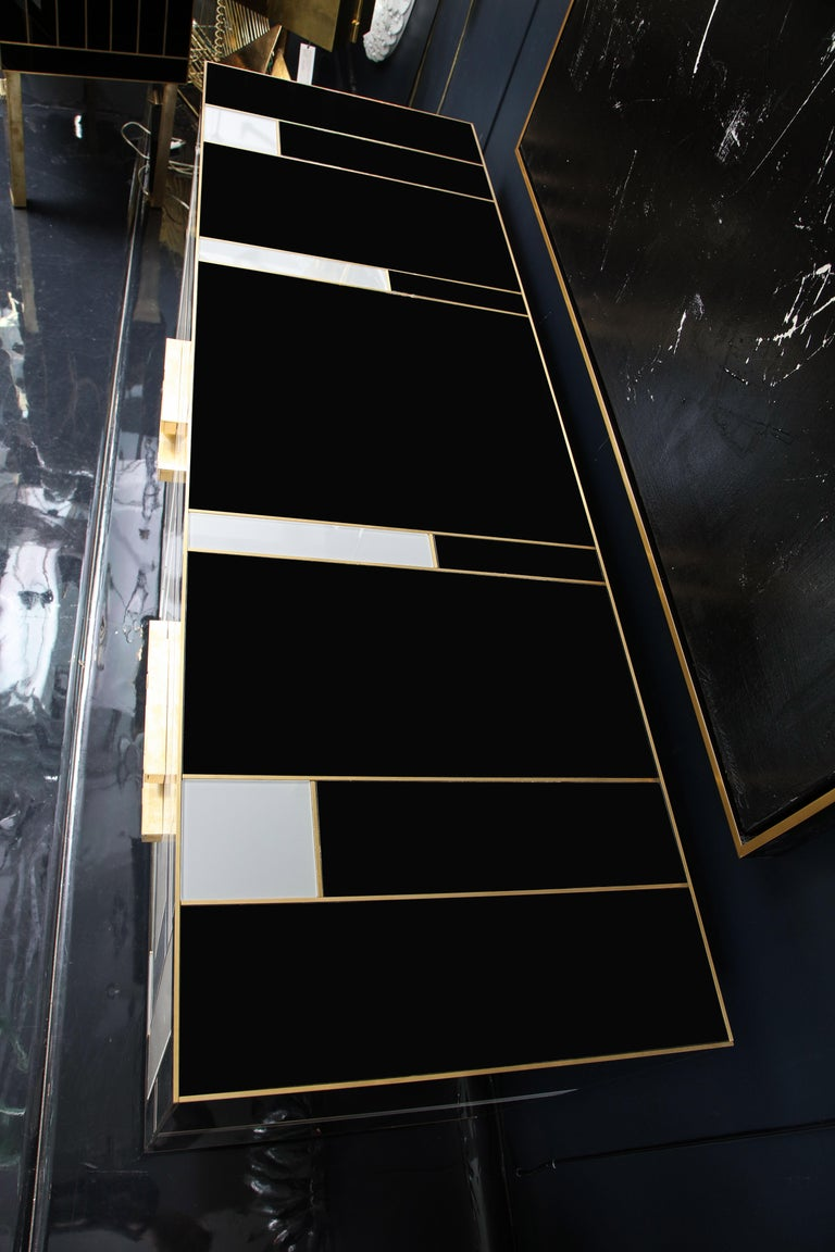 Custom Handcrafted Black, Ivory and Grey Glass with Brass Inlay Sideboard, Spain For Sale 6
