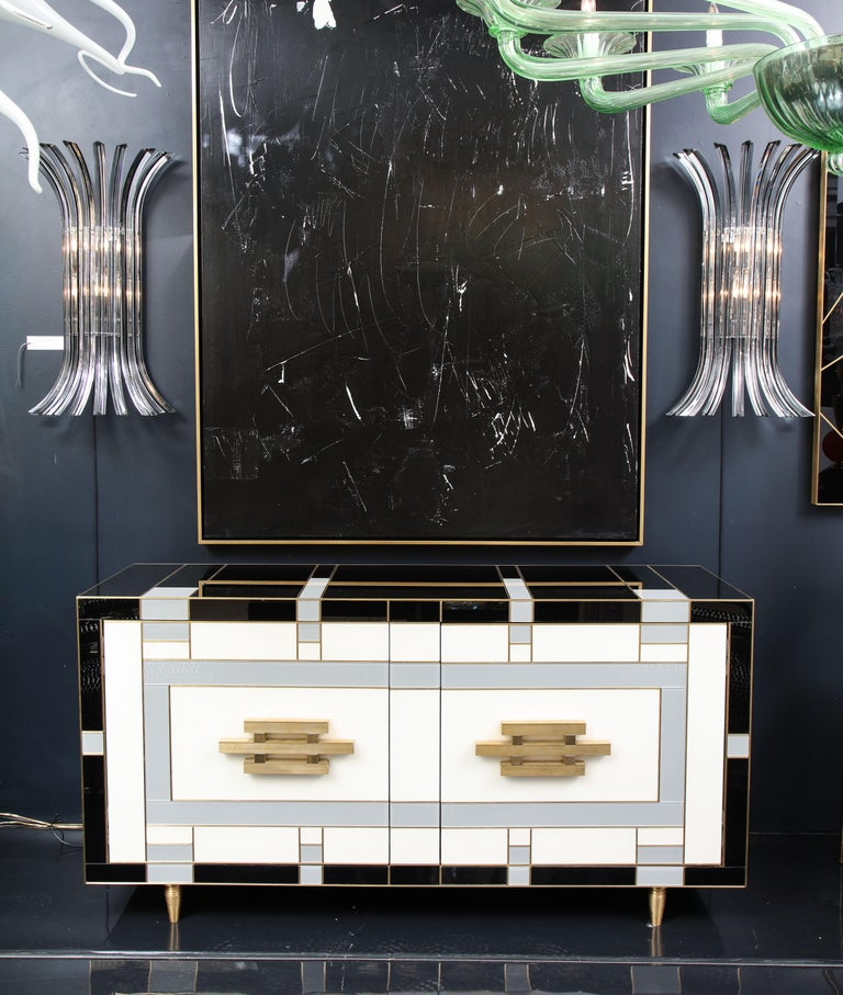 Mid-Century Modern Custom Handcrafted Black, Ivory and Grey Glass with Brass Inlay Sideboard, Spain For Sale